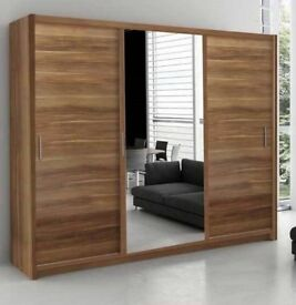 MODERN BEDROOM SET BRAND NEW BERLIN FULL MIRROR 2 DOOR SLIDING GERMAN WARDROBE IN 120 180 150 203 CM