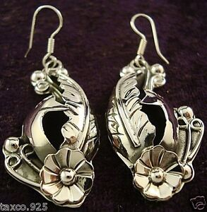 TAXCO-MEXICAN-950-SILVER-DECO-FLORAL-FLOWER-LEAF-PEACOCK-EARRINGS-MEXICO