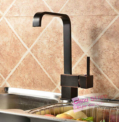 Kitchen Sink Faucet Square Waterfall Oil Rubbed Bronze Black Swivel Mixer Tap Bronze Square Kitchen Sink