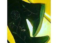 Black Suede Boots - Girls UK 5