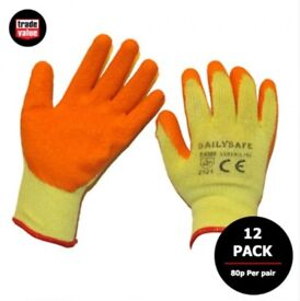Work Gloves - Latex grip work gloves - Orange - 12 pair pack - 80p per pair - Size 9 or 10