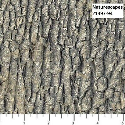 Naturescapes Quilt fabric Cotton by Northcott 21397-94 Gray Grey Tree Bark