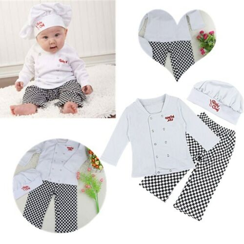 7bbc8af21c9bb Chef Cosplay Costume Newborn Baby Boy Shirt Tops+Pants+Cap Kids Outfits  ClothesUSD 3.5