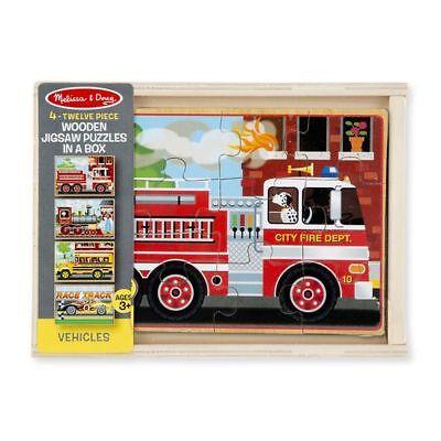 Melissa & Doug VEHICLES 4 X 12pc Wooden Jigsaw Puzzles in a Box # 3794 (FREE - Doug Vehicles Jigsaw Puzzles