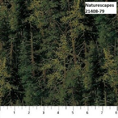 Naturescapes Quilt fabric Cotton by Northcott 21408-79 Dark Green Forest Trees