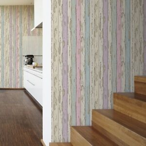 Dekora natur multi wood wallpaper distressed painted wooden panel 95883 2 ebay - Papier peint effet bois vieilli ...