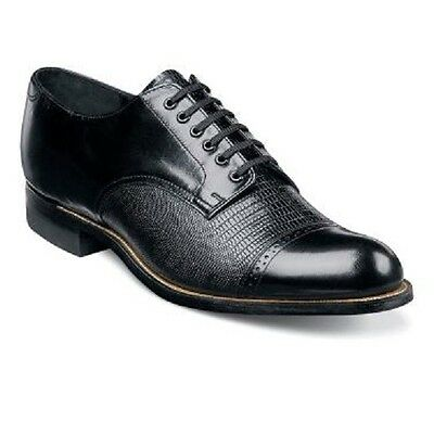Stacy Adams Mens Shoes Biscuit Leather Oxford Black Lizard Madison 00049-01 ()