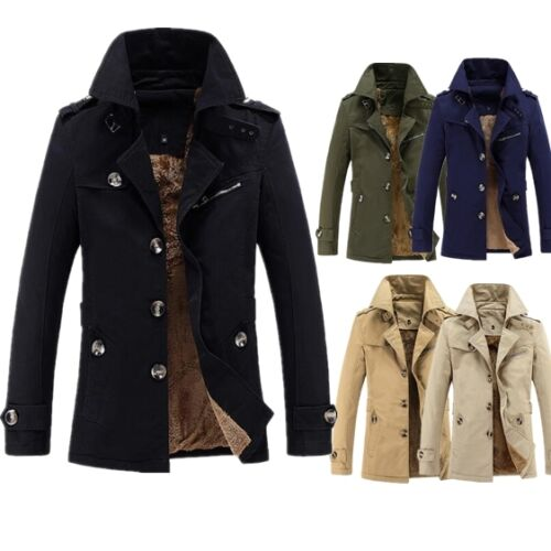 Winter Mens Trench Coat Warm Thicken Fleece Jacket Peacoat Long ...
