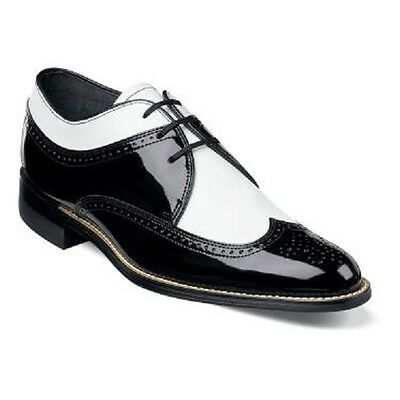 Stacy Adams Mens Shoes Dayton Black White Dress Wing Tip Oxford Leather 00605-21 ()