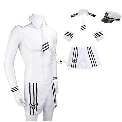 Sexy Mens Adult Sailor Navy Uniform Halloween Costume Outfit Cap Collar Tie Cuff](Mens Sailor Outfit)