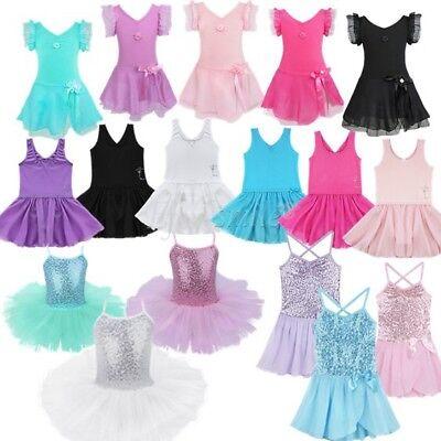 Ballerina Costume (Girls Gymnastic Ballet Leotard Tutu Dress Ballerina Dance Wear Outfit)