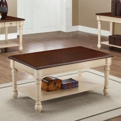 Coaster Home Furnishings 704418 Coffee Table, Dark Cherry/Antique White, NEW
