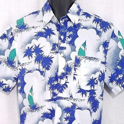 J Crew Mens Hawaiian Shirt Pullover Short Sleeve Sailboat Yacht Boat Size Medium