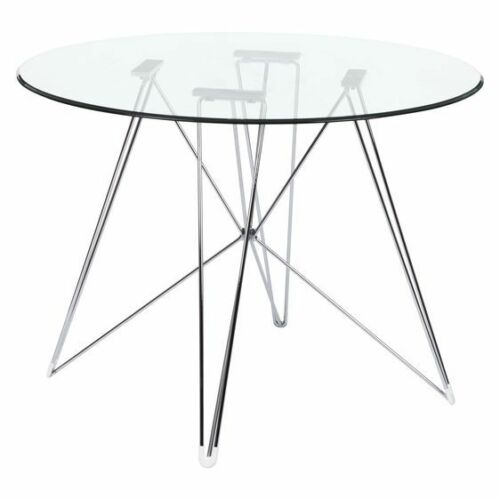 Replica eames eiffel dsr round glass dining table chrome for Charles ray eames reproduction
