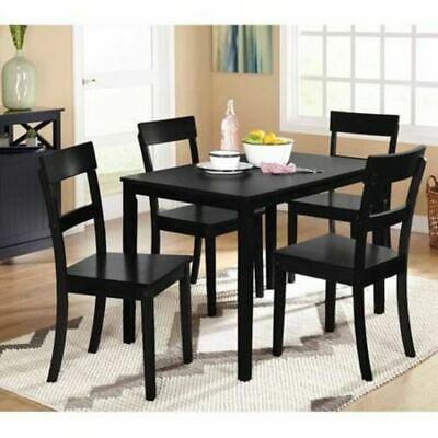 Black 5-Piece Wood Table and Chairs Dining Kitchen Set for Small Spaces NEW ()