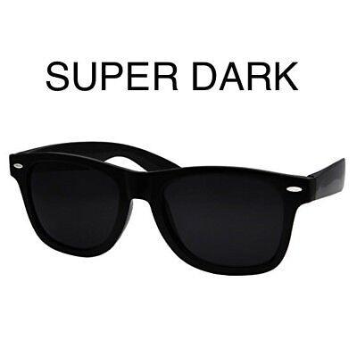 ULTRA super Extra DARK Black Sunglasses MEN WOMEN Aviator Nerd Geek Thug (Dark Black Wayfarer Sunglasses)