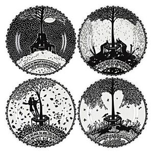 Rob Ryan Our Place decorative black and white plate set of 4 boxed wedding gift