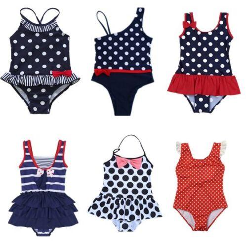 Mädchen Badeanzug Einteiler Polka Dots Schwimmanzug Bademode Bikini Badekleidung