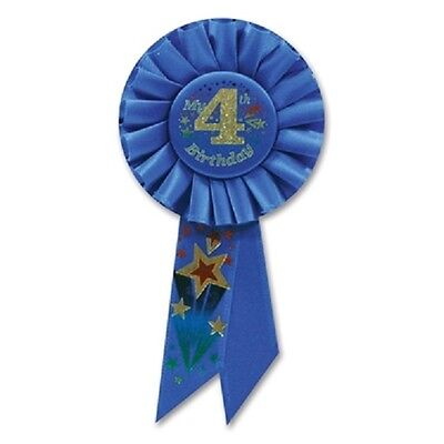 3.5 in x 7 in Rosette Ribbon Pin My 4th Birthday  B73 - Birthday Ribbon Pin