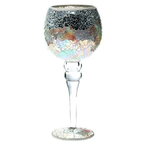 Casa Uno Mosaic Goblet Candle Holder, Silver NEW Zanui