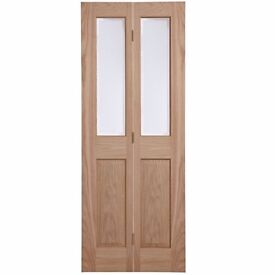 Treated Oak Internal Bi-Fold Door Glazed, Fitted With Chrome Door Knob & Hinges!