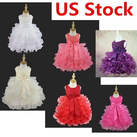 US Flower Girl Princess Dress Baby Toddler Party Wedding Bir