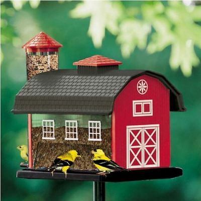 Audubon Red Barn Combo Hopper Wild Bird Feeder, Hanging or Pole Mount, 7 LB NEW