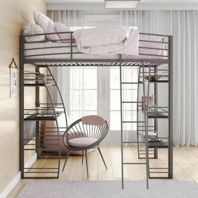 Ameriwood Studio Twin Loft Bed w/Integrated Desk & Shelves S