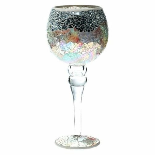 NEW Casa Uno Mosaic Goblet Candle Holder, Silver