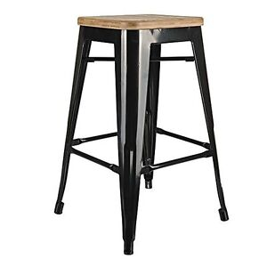 RESTAURANT TOLIX STYLE METAL WOODEN SEAT BAR STOOL DINING CHAIR