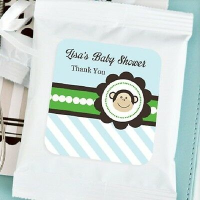 72 Personalized Blue Monkey Theme Lemonade Mix Pouches Baby Shower Favors - Monkey Baby Shower Theme