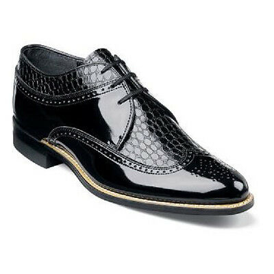Stacy Adams Mens Black Shoes Dayton Wing Tip Oxford Leather Tuxedo 00605-01  ()