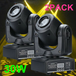 2PCS 30W Stage Lighting Spot GOBO RGBW LED Moving Head DMX Disco DJ Party Lights