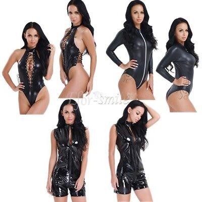 Women PVC Leather Wet Look Catsuit Sexy Lingerie Nightwear Bodysuit Club Costume