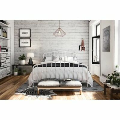 Modern Industrial Design Queen Size Adjustable Height Metal Bed Frame White New