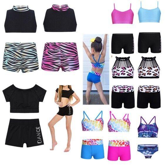 Girls Kids Sport Dance Outfit Crop Top+Shorts Gymnastics Leotard Dancing Costume