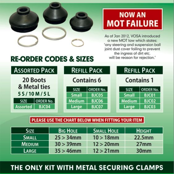 Measuring your ball joints for rubber dust covers / boots