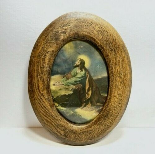 Vintage Jesus Agony in the Garden Print Litho in Oval Wood Frame Under Glass