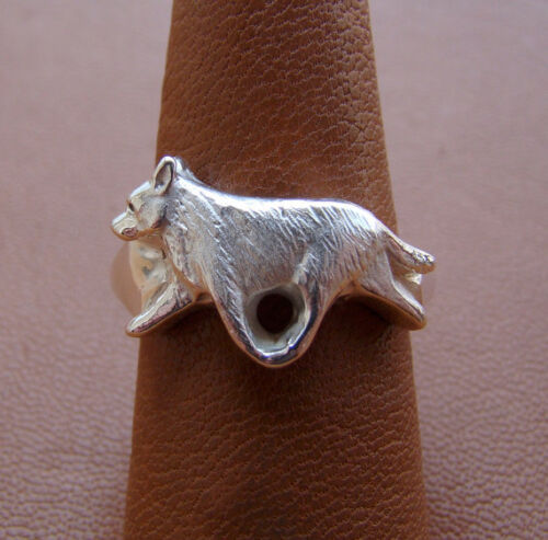 Sterling Silver Australian Cattle Dog Moving Study Ring