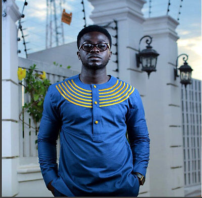 Blue & Gold Men's Long Sleeve Shirt African Clothing African Fashion Men's  Wear