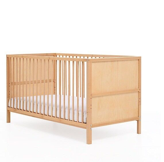 "Cot Bed from Mothercare ""Balham"" - Beech + good mattress+waterproof cover"