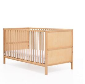 "Cot bed from Mothercare ""Balham""- beech + good mattress and cover"