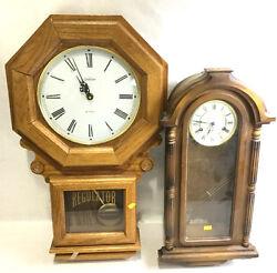 (2) Chiming Pendulum Regulator Wall Mount Clocks Lot 2099