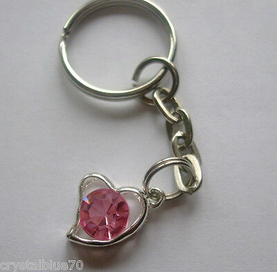 - Rhinestone Heart Charm Keyring Pink - Plated Silver Key Chain 65mm HC - PK