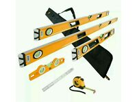 JCB magnetic 6 piece spirit level set with a tape measure and the case