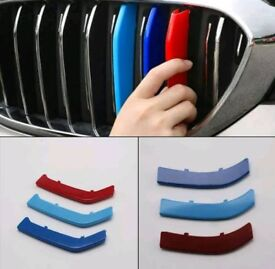 M Color Kidney Grille Stripe Cover Decor 3x For BMW 5 Series With 14-17 Bar
