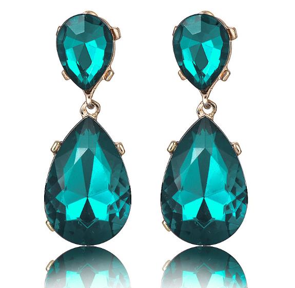 Long Green Flower Women Elegant Fashion Earrings Drop Dangle Crystal Jewelry New 1