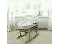 Kinder valley white Dimple with Dove Grey Wicker moses basket with ROCKING stand. Brand new 5 left