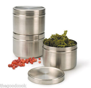 CAN-BU BRUSHED STAINLESS STEEL 4 OZ SPICE JAR 21/2