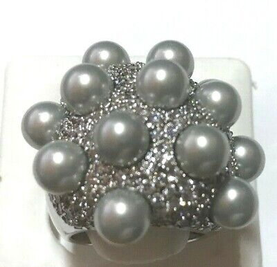 Joan Boyce CZ and Simulated Pearl Large Dome Pave Sterling Silver Ring Size 7